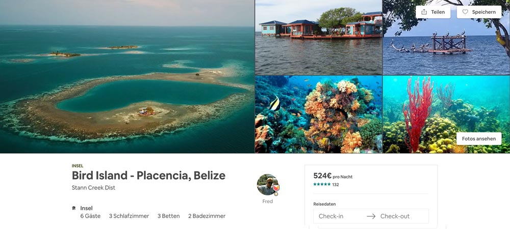 Privatinsel auf Airbnb in Belize