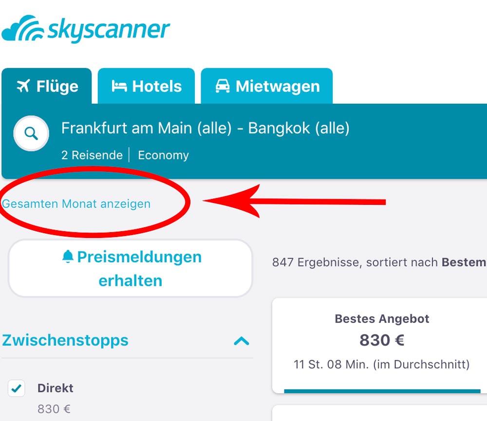 gesamten Monat anzeigen Skyscanner und günstige Flüge finden