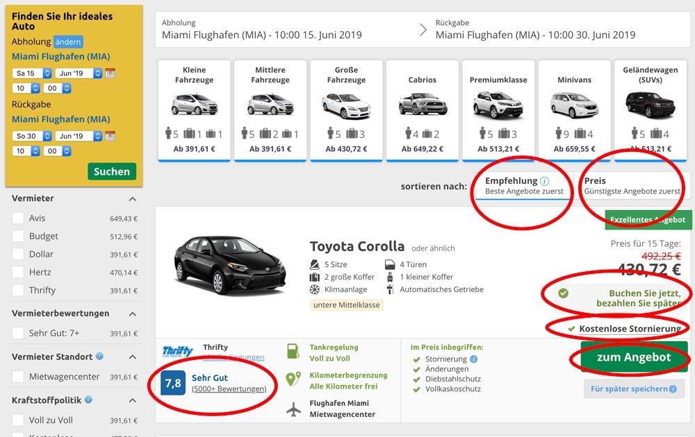günstige Mietwagen finden Suchergebnis Vergleichsportal