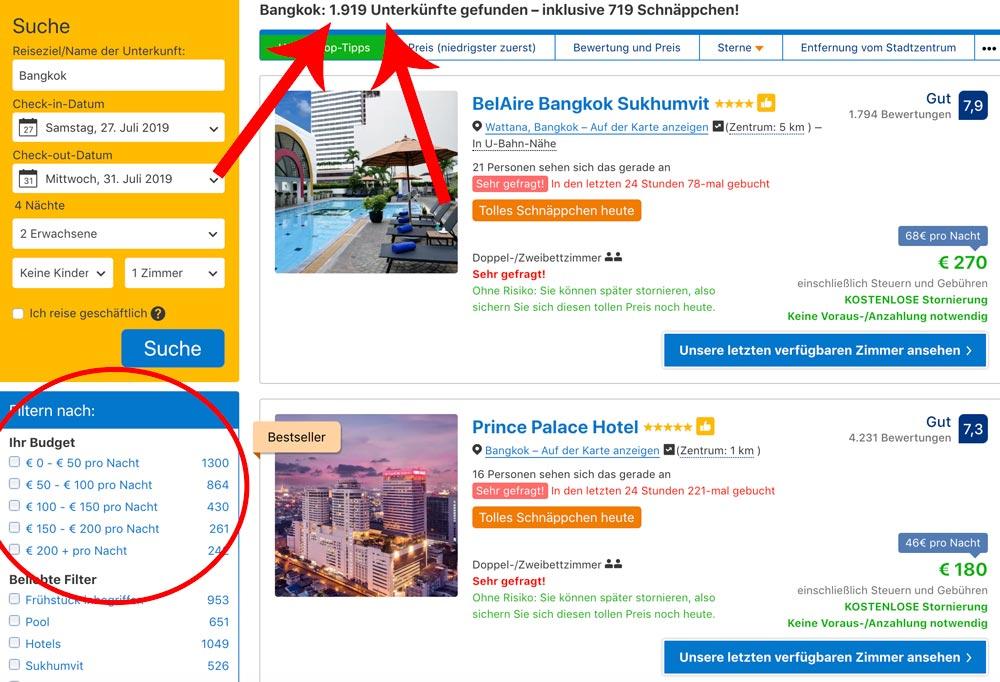 Booking.com Suchergebnis Bangkok beste Unterkunft