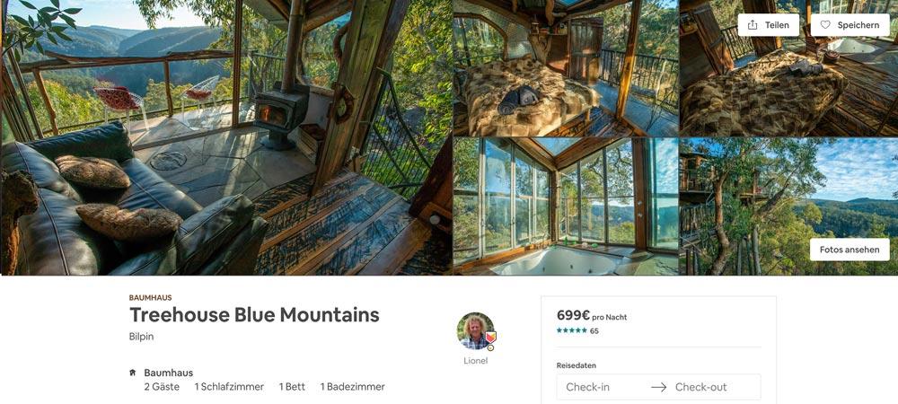 Australien Blue Mountains Treehouse - eine ausgefallene Airbnb Unterkunft