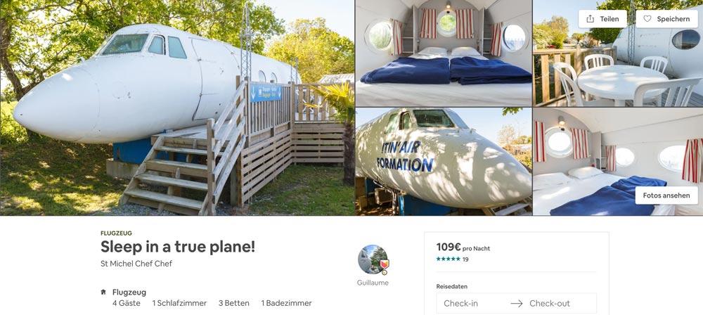 Flugzeug Airbnb ausgefallene Unterkunft