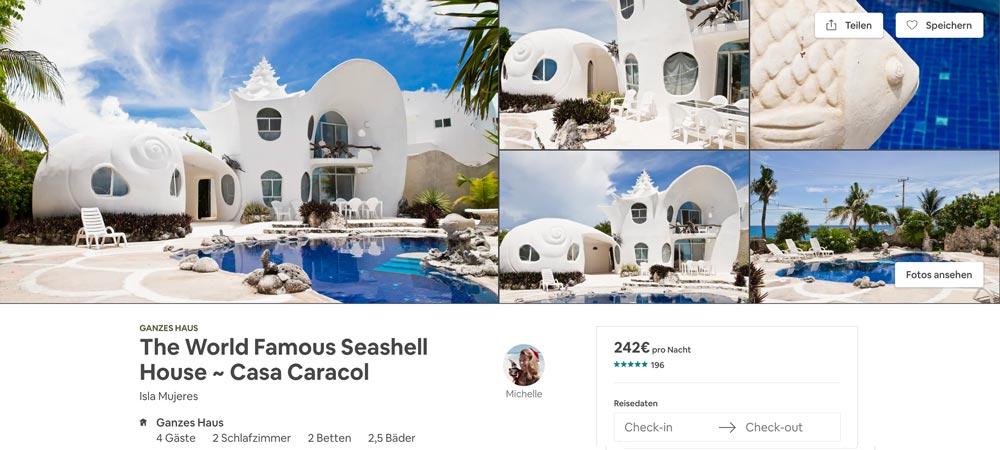 Muschelhaus Airbnb ausgefallene Unterkunft