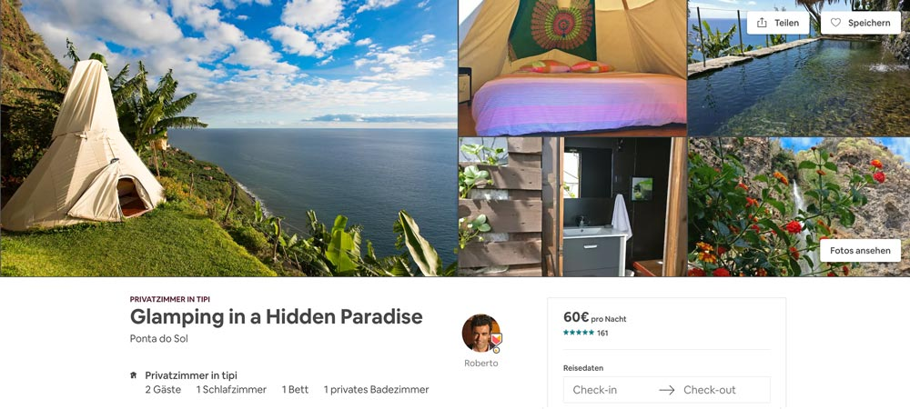Tipi Zelt Airbnb ausgefallene Unterkunft