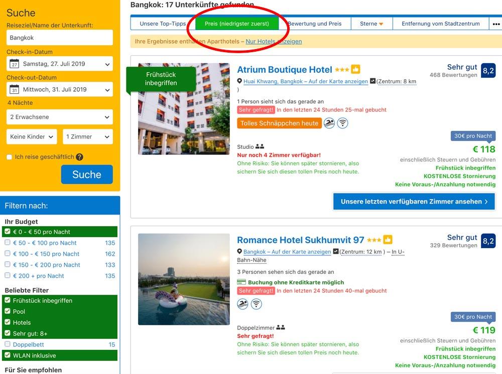 beste Hotels in Bangkok zum günstigen Preis