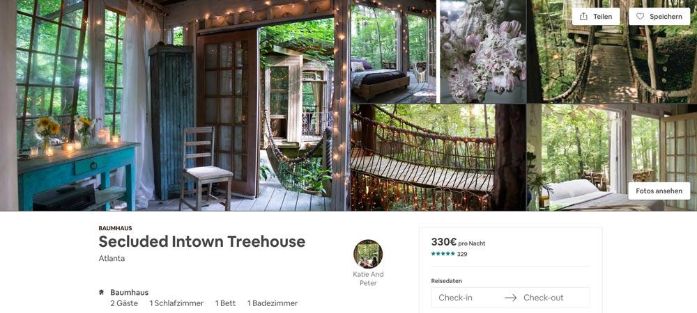 einmalig schönes Airbnb Treehouse in Atlanta