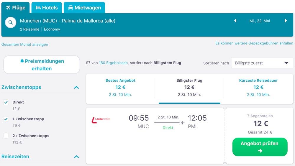 München nach Mallorca günstige Flüge finden