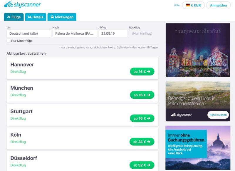 Deutschland nach Mallorca günstige Flüge finden