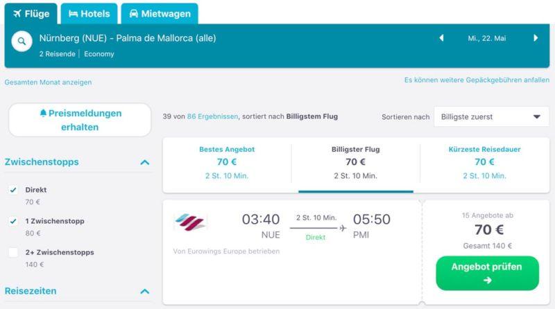 Nürnberg nach Mallorca günstige Flüge finden