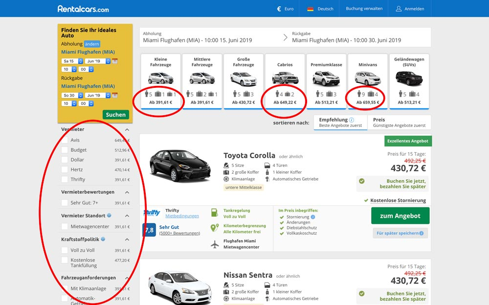 Suchergebnis günstige Mietwagen Rentalcars.com