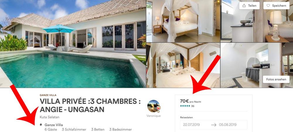 günstige Villa auf Bali 6 Personen 70 Euro mieten