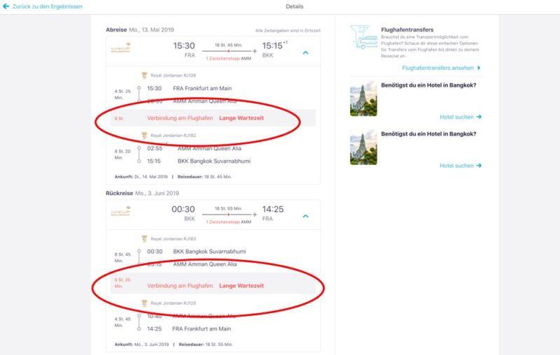 günstiger Flug nach Bangkok mit langer Zwischenlandung