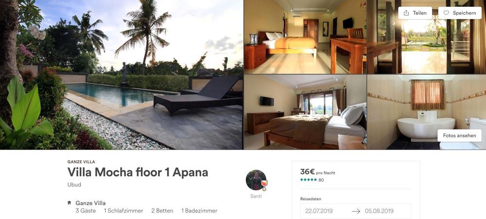 Airbnb in Ubud gut und günstig