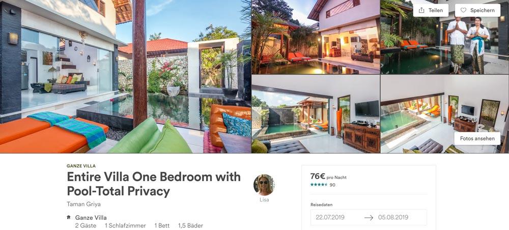 private günstige Poolvilla auf Bali mieten