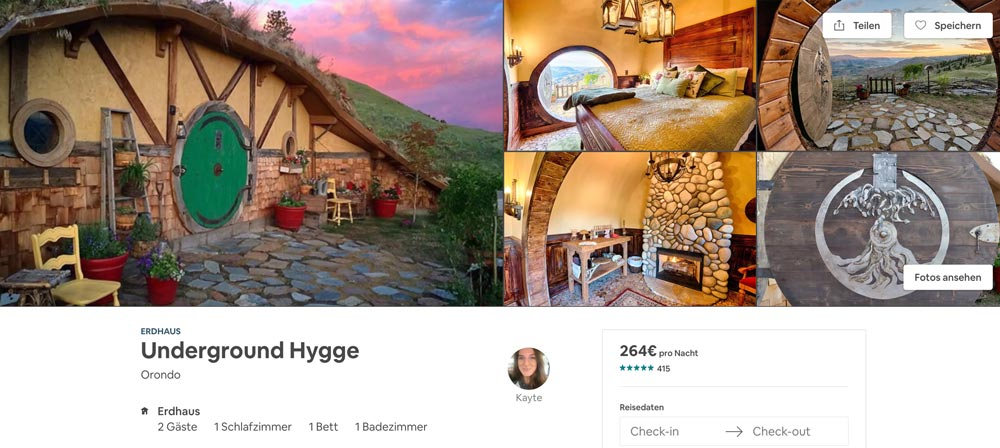 ausgefallene Airbnb - wohne wie ein Hobbit