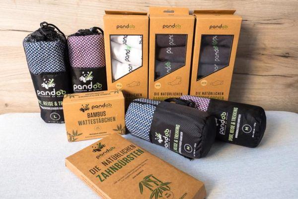 Bambus Produkte für Reisende - Bambus Reisehandtuch, Bambus Zahnbürste, Bambus Wattestäbchen