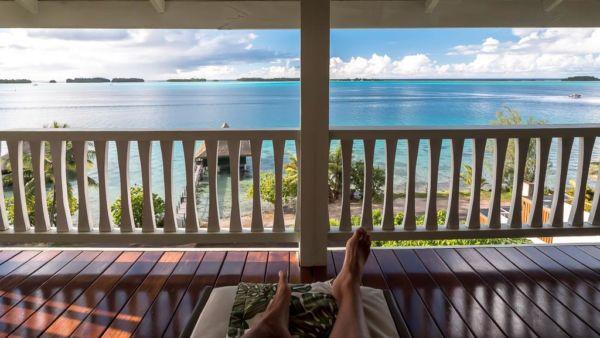 Bora Bora Unterkunft Balkon Aussicht