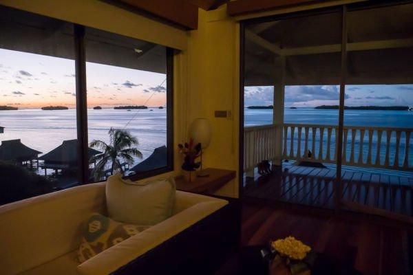 Sonnenuntergang günstige Bora Bora Unterkunft Here Moana Bungalow