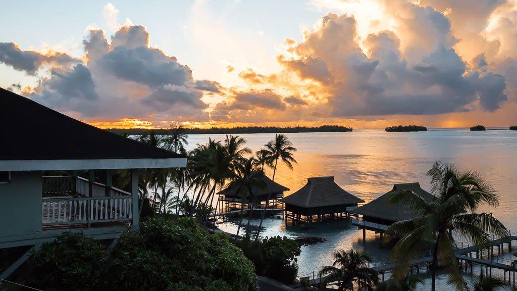 Sonnenuntergang Bora Bora Bungalow Here Moana Unterkunft