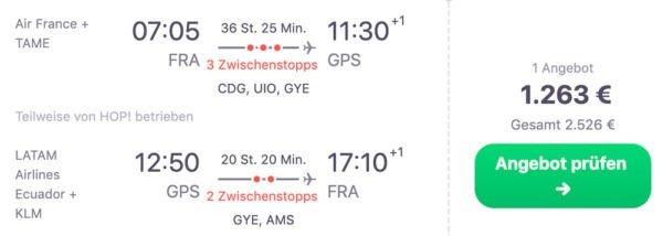 Galapagos Anreise günstige Flüge