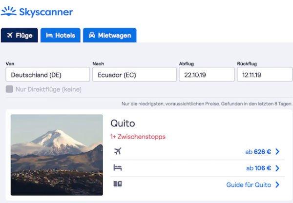 günstige Flüge Ecuador