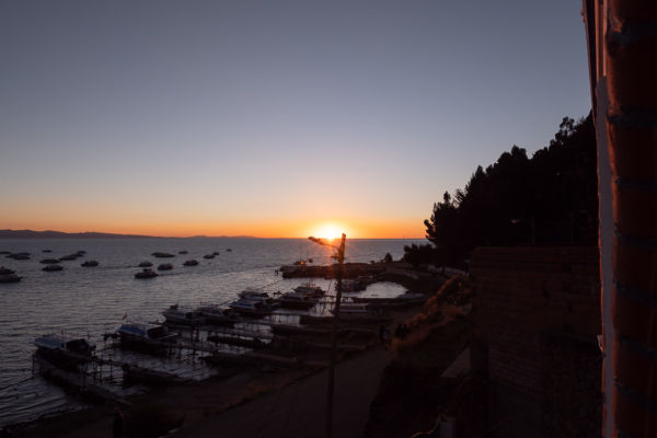 Sonnenuntergang Copacabana Bolivien Titicacasee
