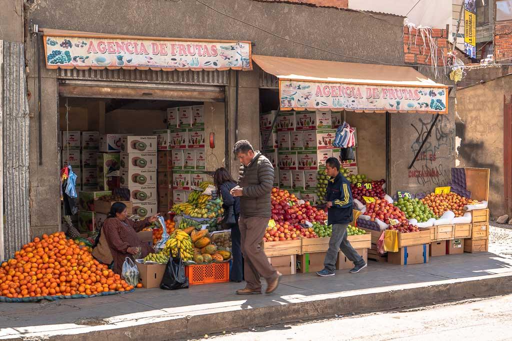La Paz Sehenswürdigkeiten Markt mit Obst