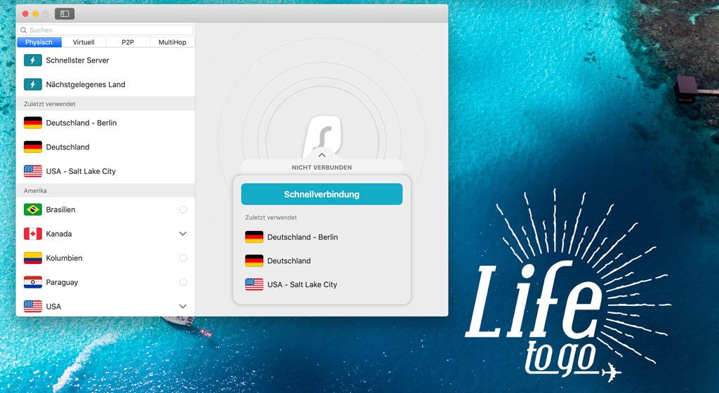 Benutzeroberfläche Surfshark VPN