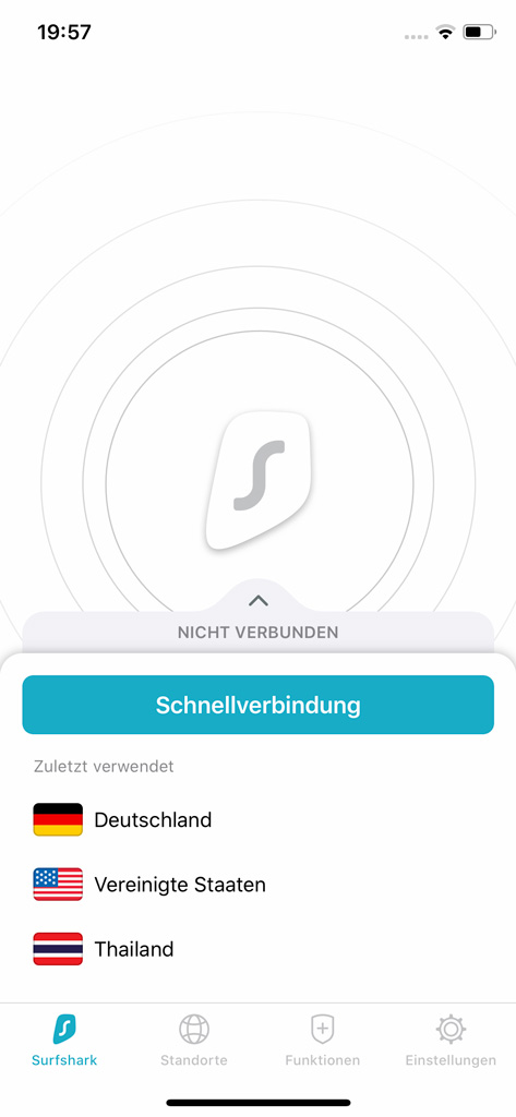 Surfshark VPN App auf iPhone