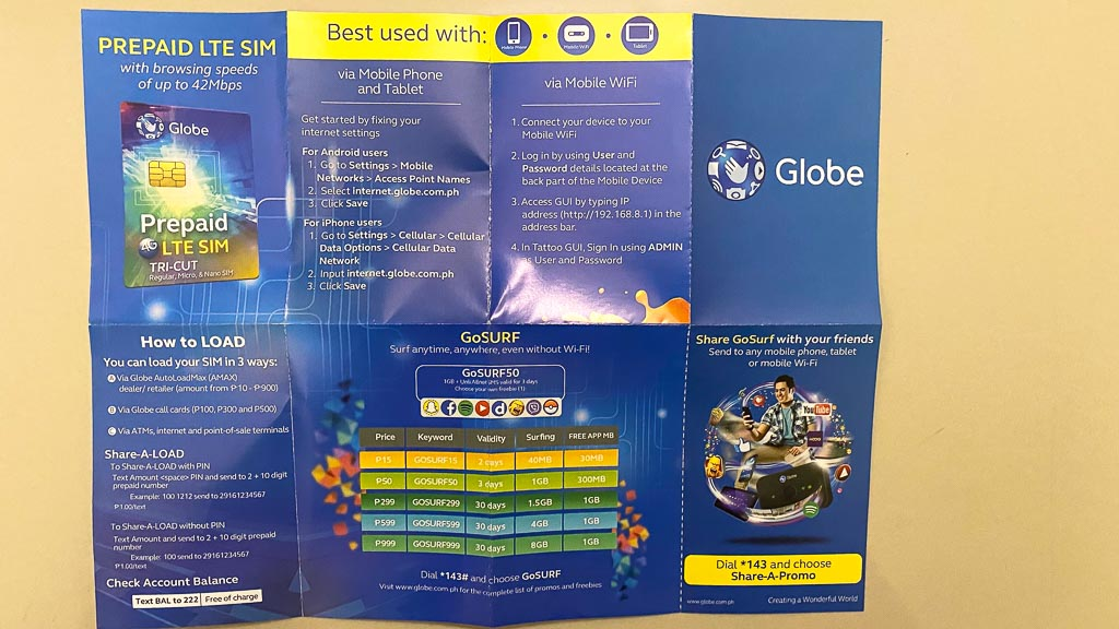 Globe Traveler Sim Prepaid beste Sim-Karte Philippinen