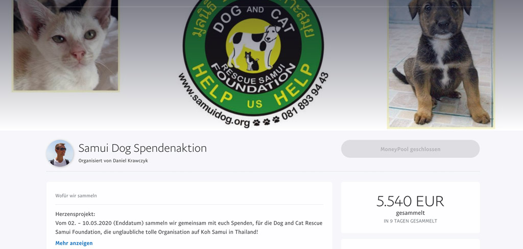 Beendete Life to go Spendenaktion Koh Samui Dog and Cat Rescue Tierheim Mai 2020 und 5540 Euro Spendensumme
