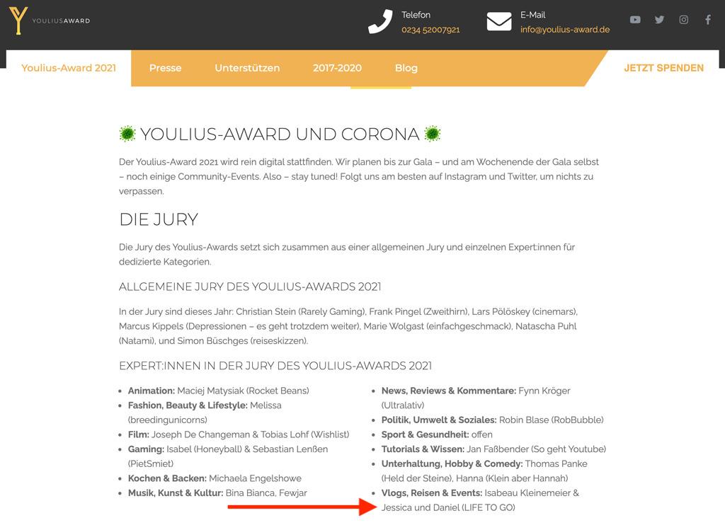 Jury Life to go Youlius Award 2021