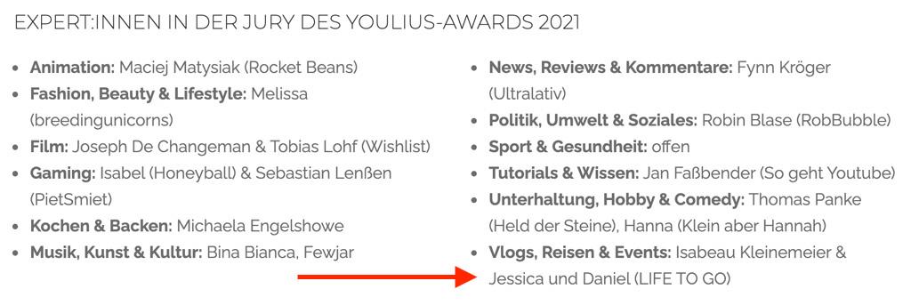 Youlius Award 2021 Experten Jury Life to go